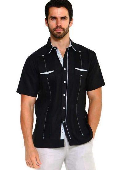 Men S Premium 100 Linen Guayabera Shirt Short Sleeve 2 Pockets Design With Contrast Print Trim Black Color In 2020 Guayabera Shirt Linen Fashion Guayabera