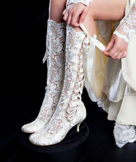 Vintage Lace Wedding Boots - 'Evangeline Elliot' Cute for a country wedding :) Victorian Boots, Victorian Era, Vintage Lace Weddings, Wedding Boots, Cowgirl Wedding, Bridal Shoes, Shoe Boots, Women, Pirate Wedding Dress