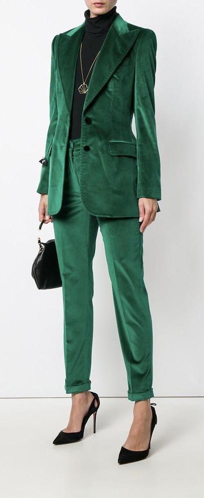 2006c81db89 Green Velvet Women Suits 2 Piece Office Ladies Pants Suit Formal Business  Blazer