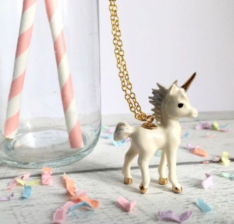 Ceramic Unicorn Necklace on long gold or silver plated chain, comes gift boxed, beautifully glazed ceramic