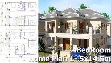 4 Bedroom Villa Design Idea 10 5m X14 5m Villa Design Modern Villa Design Kitchen Lighting Design