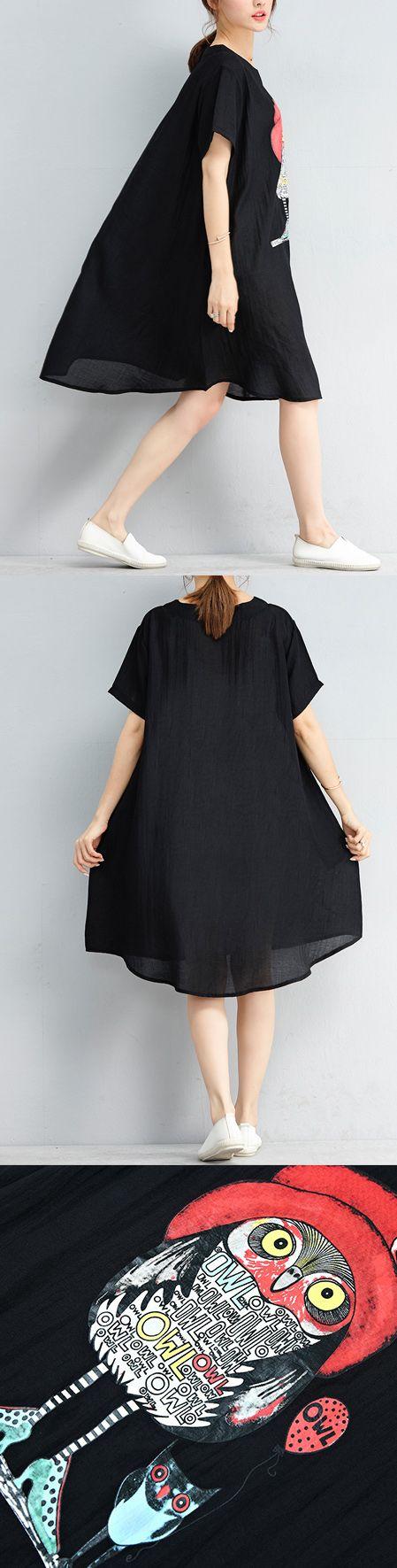 f3b6c06a01cc 2018 black chiffon shift dresses oversize shirt dress casual short sleeve  Cartoon print dress5