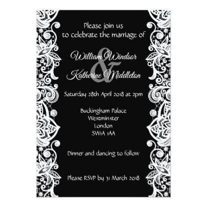 White Lace On Black Background Wedding Invitation Zazzle Com Lace Wedding Invitations Black And White Wedding Theme Stylish Wedding Invitation