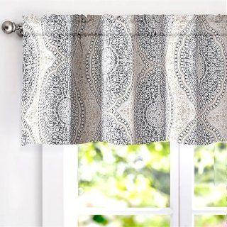 Driftaway Adrianne Pastel Damask Printed Window Valance Beige Grey Beige Gray 100 Polyester Valance Curtains Valance Curtain Patterns