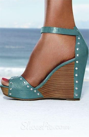 Great summer style—aqua leather riveted wedge peep toe sandals❣ shoespie.com