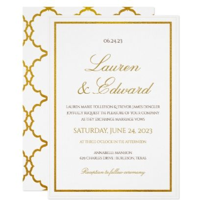 Simple Elegance Wedding Invitation Faux Gold Foil Invitation