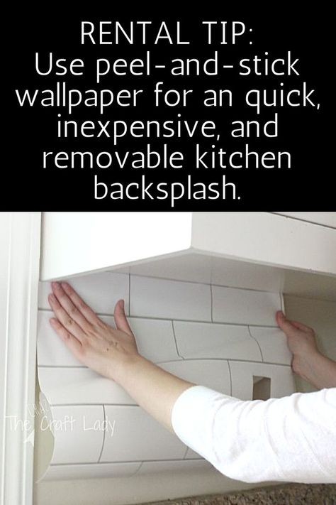 Rental-Friendly Decorating Tip: Use peel-and-stick wallpaper for a quick, inexpensive, and removable kitchen backsplash. Make a White Subway Tile Temporary Backsplash with removable wallpaper. Follow this tutorial for a smooth, perfect finish.  #TheCrazyCraftLady #rentalfriendly #subwaytile #wallpaper #temporarywallpaper