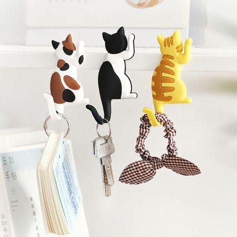 Cute Cat Magnetic Stick On Refrigerator Sticker Hook Hanger Hats Bag Key Hook