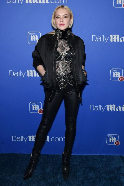 Lindsay Lohan attends the DailyMail.com & DailyMailTV Holiday Party with Flo Rida.