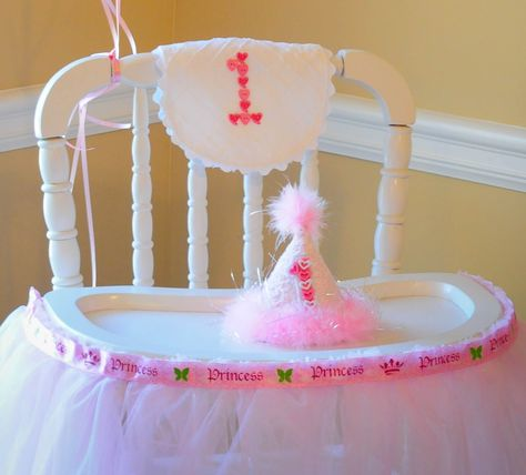 1st Birthday Hat And Bib Fancy High Chair Used Heart Buttons Princess Ribbon Tulle Skirted The Tray