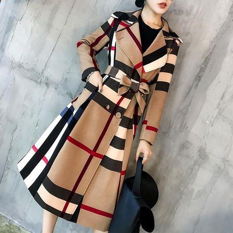 2019 otoño e invierno nuevo estilo Vintage mujer gabardina abrigo largo arco tendencia más tamaño ropa de color caqui
