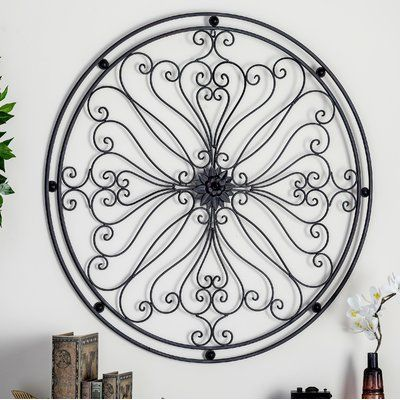 Fleur De Lis Living Metal Round Wall Decor Wrought Iron Wall