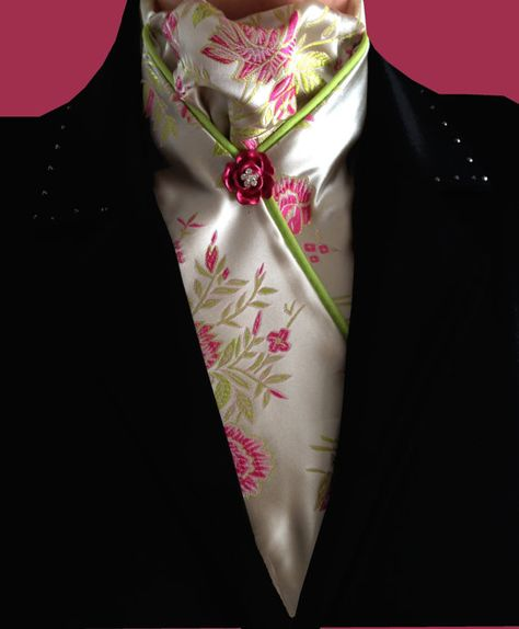 Pink Floral Print Brocade Dressage Stock Tie, Pre-tied