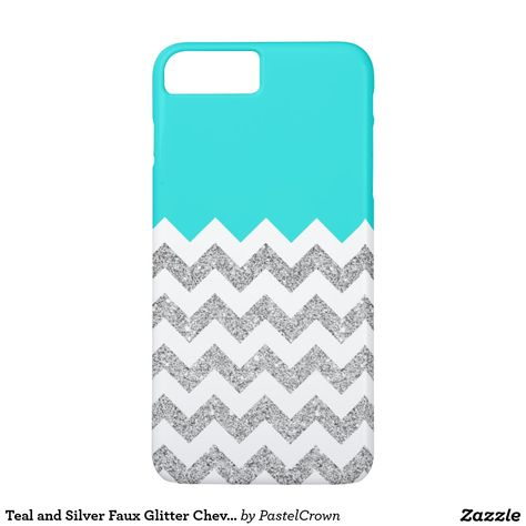 Teal and Silver Faux Glitter Chevron