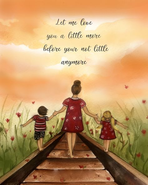 Mother and two children Let me love you a littl emore before yo are not little anymore. by claudiatremblay on Etsy
