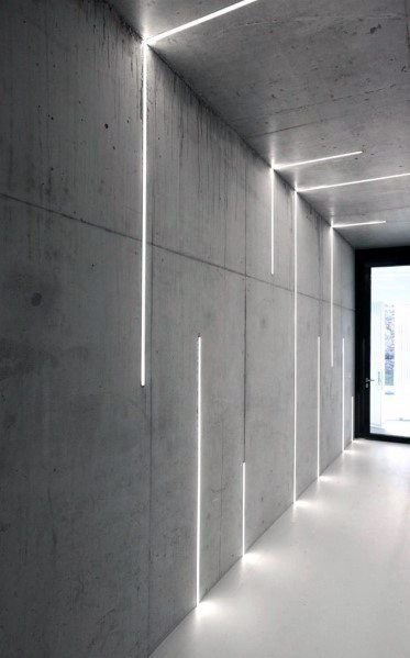 Top 60 Best Hallway Lighting Ideas - Interior Light Fixtures - - Make stumbling in the dark a thing of the past with the top 60 best hallway lighting ideas. Concrete Light, Concrete Lamp, Futuristic Interior, Futuristic Design, Futuristic Lighting, Screen Design, Blitz Design, Luminaire Mural, Deco Led