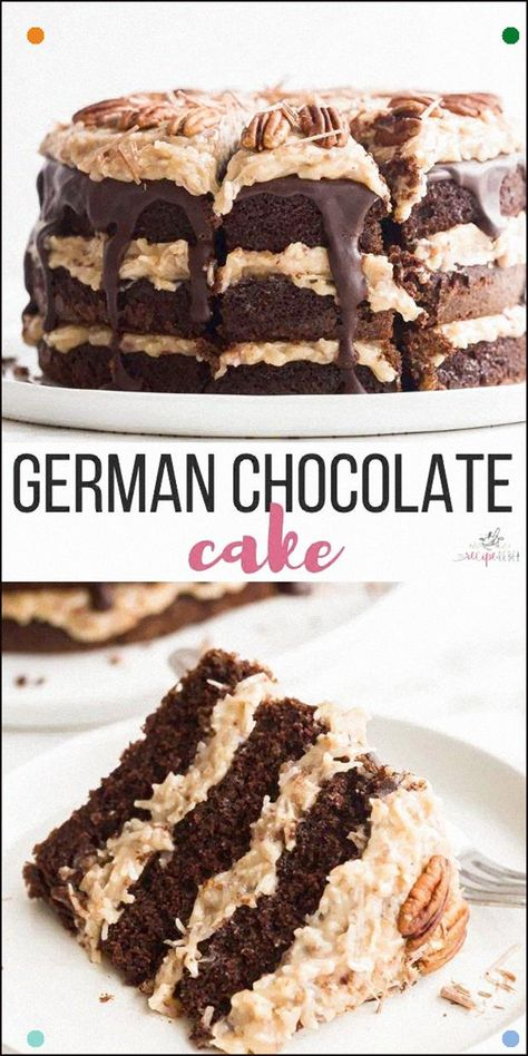 This German Chocolate Cake Is Made With Rich, Chocolate Cake Layers, Coconut Pecan Frosting And Chocolate Frosting For An Impressive Cake That Will Wow Your Chocolate Lovers #Cake #Recipe #Dessert #Chocolate Chocolate Dessert Cake Recipe Dessert Recipes