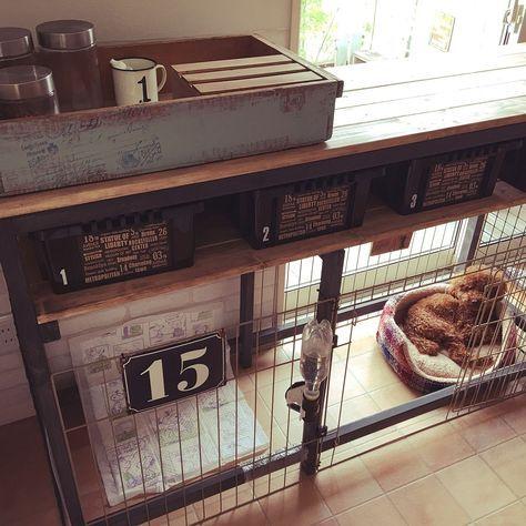 棚 ドッグゲージdiy 収納棚diy 犬と暮らす プレート などのインテリア実例 2016 05 09 17 37 30 Roomclip ルームクリップ 犬の部屋 ペットと暮らすインテリア インテリア