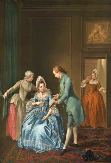"""""""The French Lesson Interrupted"""", 1774. Jacobus Buys (1724–1801), Dutch painter. Collection: National Trust."""