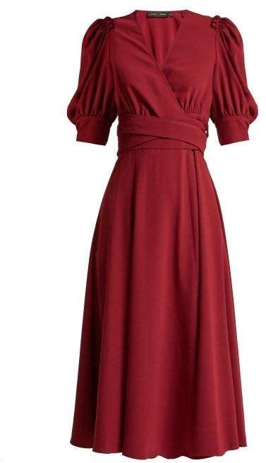 Proenza Schouler - Ruffled Crepe Wrap Dress - Womens - Burgundy