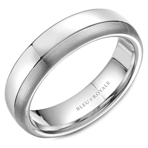 A Polished White Gold Wedding Band With A Brushed Edge And Line Detailing C With Images Mens Wedding Bands White Gold White Gold Wedding Bands Mens Wedding Rings Black