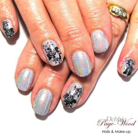 Holographic Rainbow Chrome Manicure With Black Rose Nail Art Pigment Nails Nailart