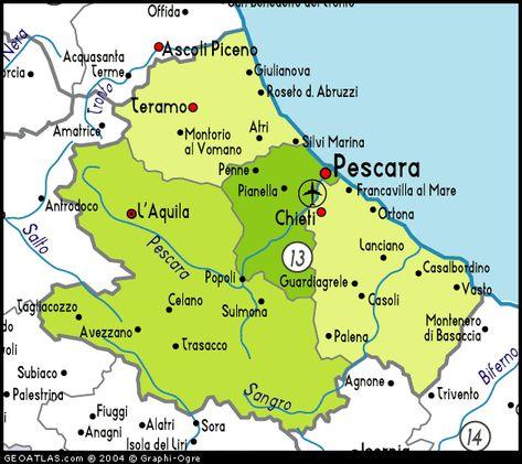 abruzzi italy   Map of Abruzzo map, Abruzzo , Italy, Italy Atl ...