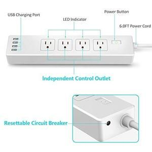 Wifi Smart Power Strip Surge Protector With 4 Smart Plugs And 4 Usb Ports And 5 9ft Long Extension Power Cord Work Wit Smart Plugs Power Strip Surge Protector