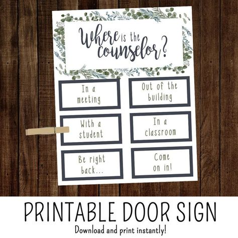 Where is the Counselor Sign, School Counselor Office Door Sign