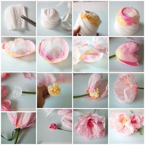 Crepe And Watercolor Flower Tutorial Diy Paper Flowers Tutorial