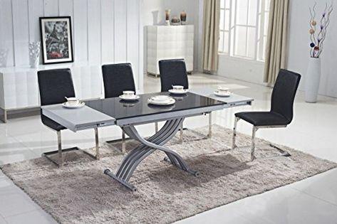 Tavolo trasformabile Mobilier Deco Tavolino Nero sollevabile in Vetro con prolunga