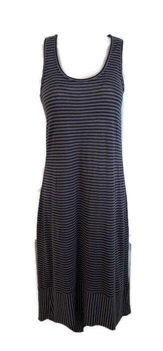 Eileen Fisher Xs Tank Dress Navy Blue Gray Stripe Linen Racerback Hilo Mid Calf Eileenfisher Tshirtdress Casual Fashion Sleeveless Shirt Dress Striped Linen