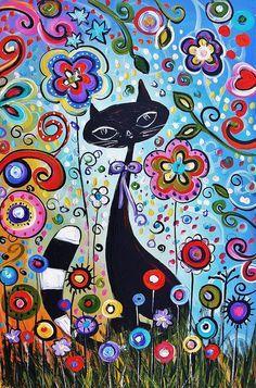 Abstract Cat Painting - Jolina Anthony