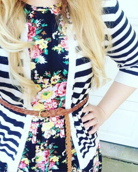 Floral Amelia with striped cardigan https://www.facebook.com/groups/lularoewithamber/
