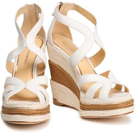 3507c0f585b7 Paloma Barceló Leather espadrille wedge sandals ( 180) ❤ liked on Polyvore  featuring shoes