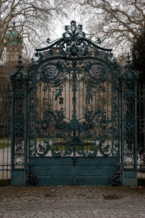 Gate to Jagdschloß Glienicke Glienicke Hunting Lodge Berlin Beautiful Architecture, Architecture Details, Beautiful Homes, Beautiful Places, House Beautiful, Beautiful Gardens, Wrought Iron Gates, Gothic House, Entrance Gates