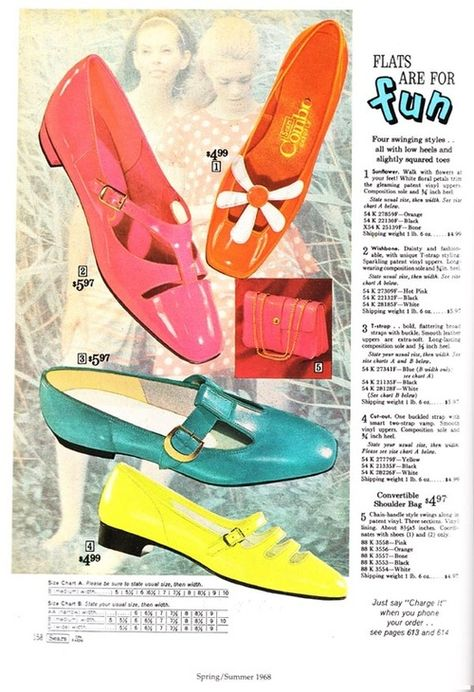 theswinginsixties:  Shoe fashions in a 1968 Sears Catalogue.