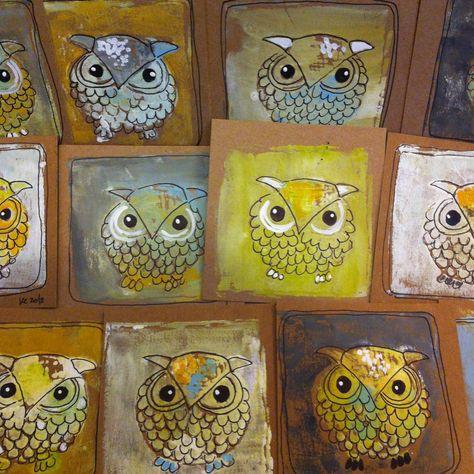 owl prints. sharpie on top