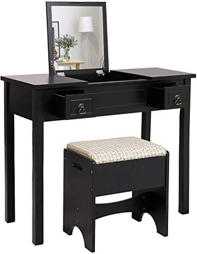 Best Seller Vasagle Vanity Set Flip Top Mirror Makeup Dressing Table Writing Desk 2 Drawers Cushioned Stool 3 Removable Organizers Easy Assembly Black Online In 2020 Dressing Table Writing Desk Makeup