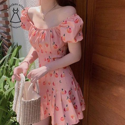 Pink Elegant Kawaii Dress, Women Floral Print Cherry Mini Dress, Female Casual Sweet Japan Korean Style Summer Dress Women 2021