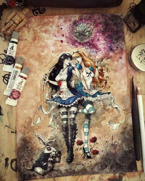 Alice The Madness Returns Dark Fantasy Art, Alice In Wonderland Artwork, Disney Horror, Rick Und Morty, Naruto E Hinata, Marceline, Beautiful Dark Art, Alice Madness Returns, Scooby Doo