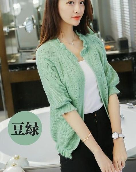 cardigan women's sweater thin spring outfit with the 2019 Korean version of loose spring and autumn hollow shawl jacket - peagreen / S
