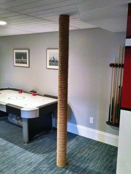 Top 50 Best Basement Pole Ideas Downstairs Column Cover Designs Small Basement Remodel Basement Design Basement Poles