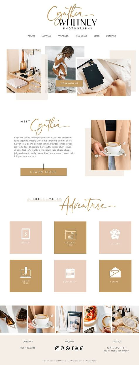 A feminine website and web design for a modern female business. Perfect for designers, artists and wedding professionals, modern feminine branding in neutral, dusty pink and mustard. Boho branding and Web Design Trends, Web Design Blog, Design Sites, Web Design Mobile, Design Food, Fashion Website Design, Travel Website Design, Interior Design Website, Portfolio Website Design