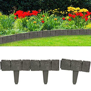 Set De 10 Bordures Ardoises Delimitation Jardin Pelouse Plate