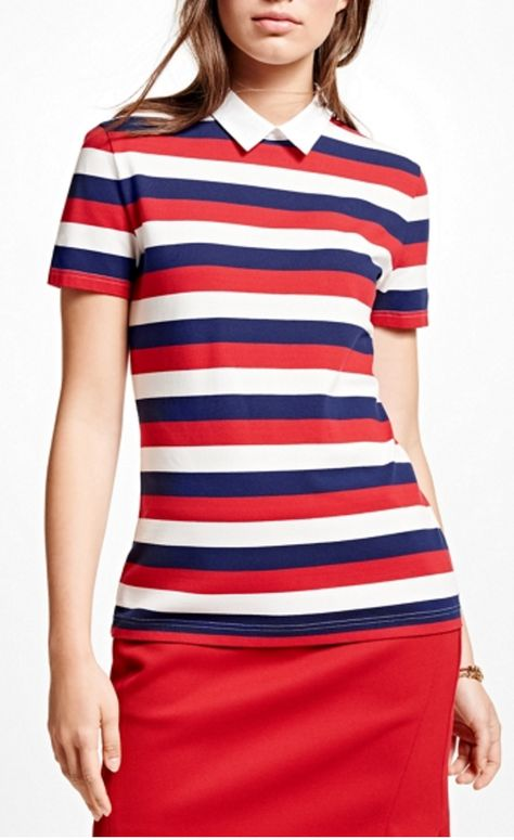 Red White and Blue Stripe Cotton Pique Collared Top