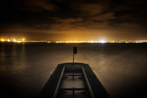 https://flic.kr/p/k6XM1J | The Oldest Swinger | Looking towards Grangemouth from the middle of the old Kincardine Bridge. Two exposures combined.