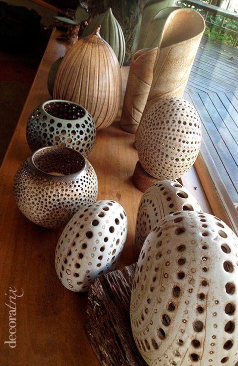 lamparas de ceramica organica del taller de la artista gema ossenbach