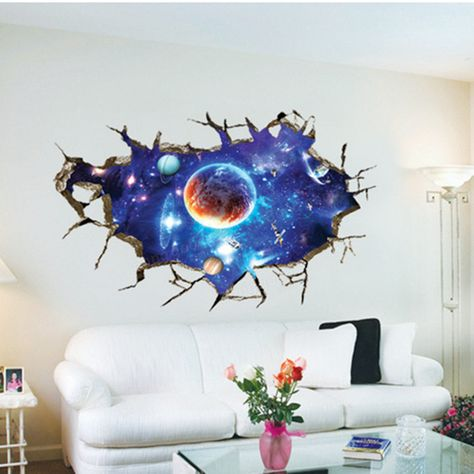 3d Sticker Outer Space Wall Stickers Home Decor Mural Art