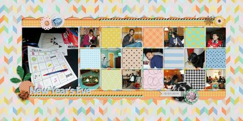 Family Album 2014: New Year's Eve layout by Tina Shaw | Pixel Scrapper digital scrapbooking